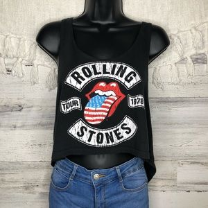 Rolling Stones band crop tank top